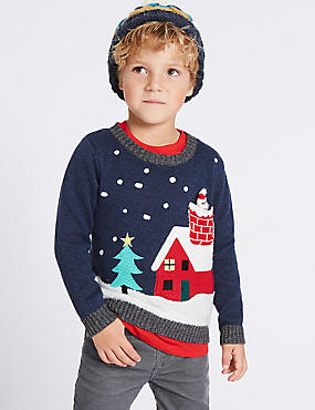 Cotton Rich Christmas House Print Jumper (3 Months - 5 Years), GREEN MIX, catlanding