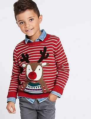 Pure Cotton Reindeer Jumper (3 Months - 5 Years), RED MIX, catlanding