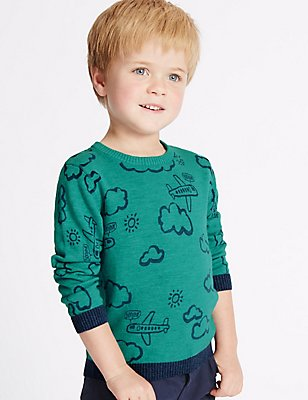 Pure Cotton All Over Print Jumper (3 Months - 5 Years), JADE, catlanding