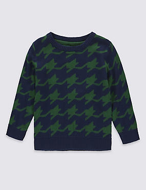 Pure Cotton Houndtooth Jumper (1-7 Years), NAVY MIX, catlanding