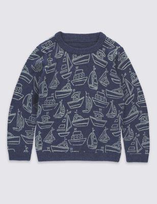 Джемпер из чистого хлопка с морскими рисунками в графике для мальчика 3 мес - 5 лет