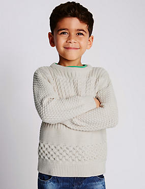 Pure Cotton Cable Knit Jumper (1-7 Years)