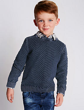 Pure Cotton Chevron Jumper (1-7 Years)