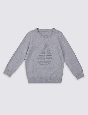 Pure Cotton Textured Jumper (3 Months - 5 Years), GREY MIX, catlanding