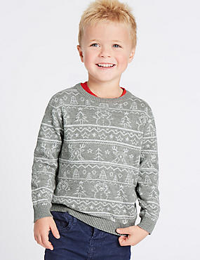 Pure Cotton Printed Jumper (3 Months - 6 Years), GREY MIX, catlanding