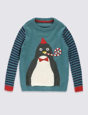Джемпер из хлопка с пингвином для мальчика 1-7 лет