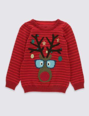 Джемпер в полоску из чистого хлопка Reindeer для мальчика 1-7 лет T887096T