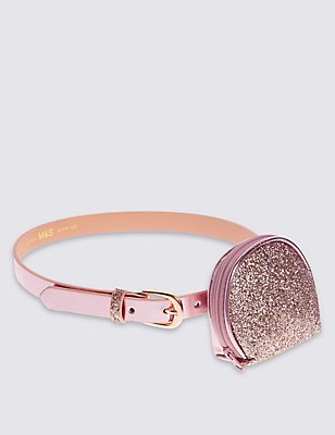 Kids' Glitter Purse with Hip Belt, ROSE, catlanding
