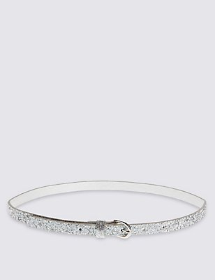 Kids' Faux Leather Buckle Belt, SILVER, catlanding