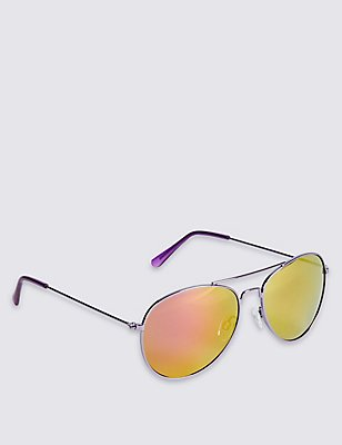 Kids' Aviator Sunglasses (Older Girls), PURPLE, catlanding