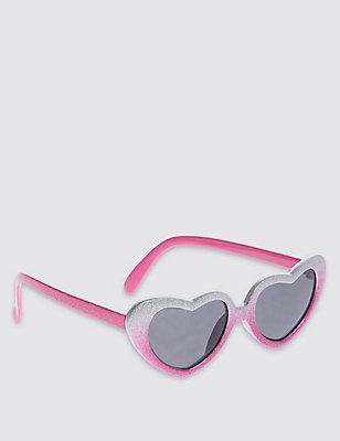 Kids' Glitter Heart Shape Sunglasses (Younger Girls), SILVER MIX, catlanding