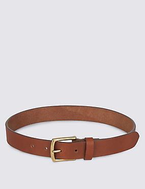 Kids' Leather Buckle Belt, TAN, catlanding