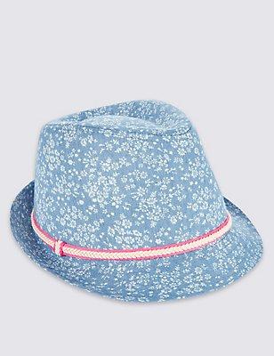 Kids' Trilby Hat, CHAMBRAY, catlanding