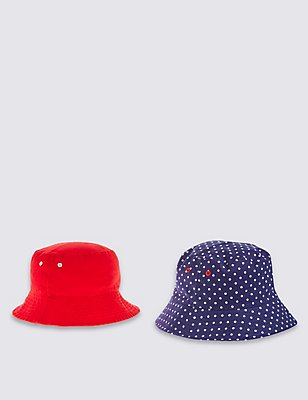 Kids' 2 Pack Pure Cotton Hats, NAVY MIX, catlanding
