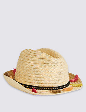 Kids' Tassel Trilby Hat, LIGHT TAN MIX, catlanding