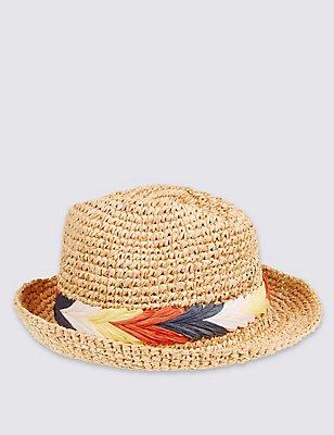Kids' Foldable Straw Trilby Hat, TAN, catlanding