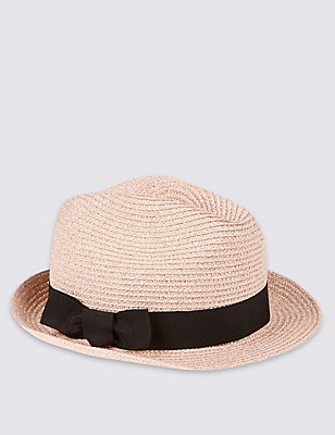 Kids' Glitter Packable Trilby Hat, ROSE, catlanding