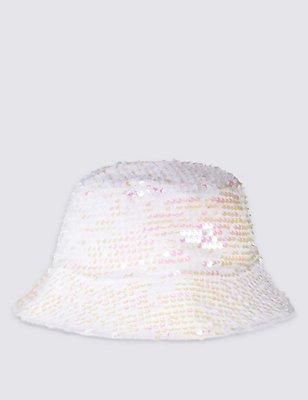 Kids' Sequin Pull On Hat, WHITE MIX, catlanding