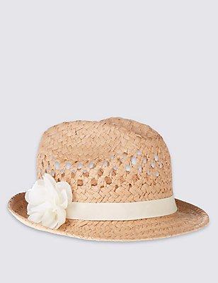 Kids' Corsage Trilby Hat, TAN, catlanding
