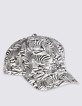 Kids' Pure Cotton Animal Print Baseball Cap, BLACK MIX, catlanding