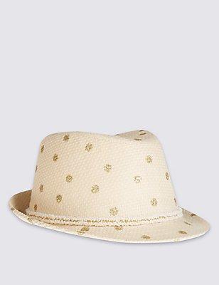 Kids' Glitter Spot Trilby Hat, TAN, catlanding
