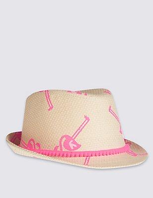 Chapeau enfant style Trilby à pompons, ROSE ASSORTI, catlanding