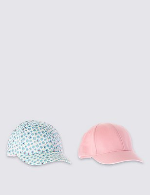 2 Pack Pure Cotton Assorted Hats, PINK MIX, catlanding