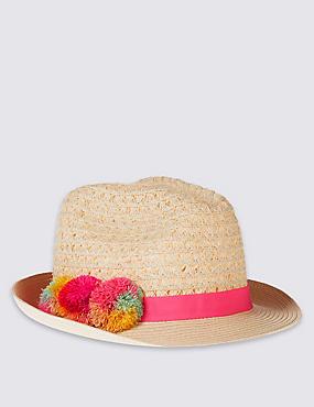Chapeau enfant style Trilby à pompons, HAVANE, catlanding