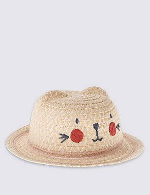 Novelty Straw Hat , TAN, catlanding