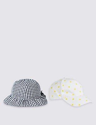 Kids' 2 Pack Pure Cotton Hats, WHITE MIX, catlanding