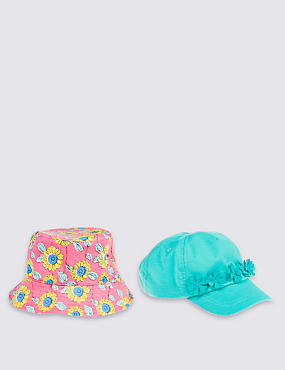Kids' 2 Pack Floral Hats, PINK MIX, catlanding