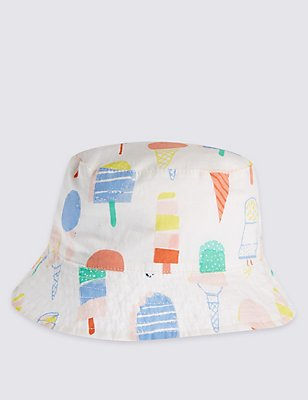 Pure Cotton Printed Summer Hat, MULTI/PASTEL, catlanding