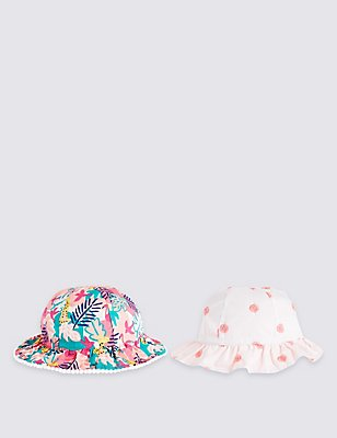 Kids' 2 Pack Pure Cotton Hats, MULTI/BRIGHTS, catlanding