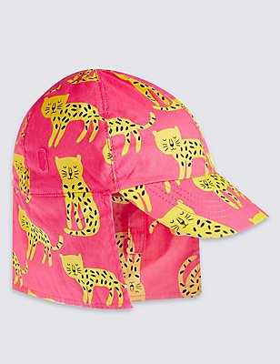 Pure Cotton Animal Print Summer Hat, PINK MIX, catlanding