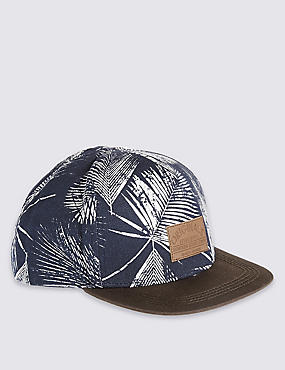 Kids' Pure Cotton Palm Print Baseball Cap, BLUE MIX, catlanding
