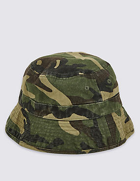 Kids' Pure Cotton Camouflage Print Summer Hat, KHAKI MIX, catlanding