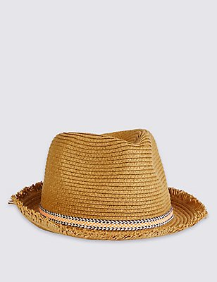 Kids' Frayed Edge Trilby Hat, LIGHT TAN, catlanding