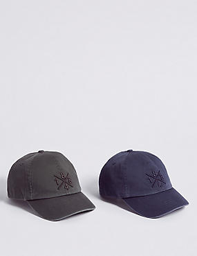 Kids' 2 Pack Pure Cotton Baseball Caps, GREY, catlanding