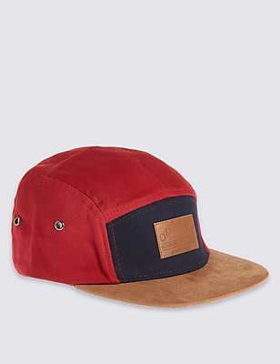 Kids' Pure Cotton Panel Detail Hat, RED MIX, catlanding