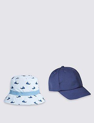 Kids' 2 Piece Cap & Hat, BLUE MIX, catlanding