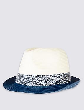 Kids' Colour Block Trilby Hat, BLUE MIX, catlanding