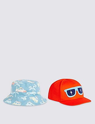 Kids' 2 Piece Cap & Hat, BLUE MIX, catlanding