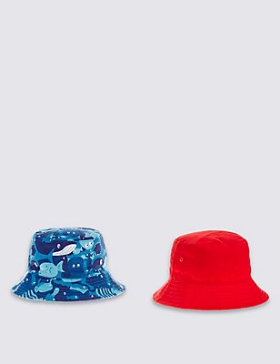 Kids' 2 Pack Pure Cotton Hats, BLUE MIX, catlanding
