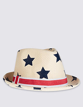 Kids' Star Print Trilby Hat, LIGHT TAN MIX, catlanding