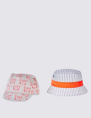 Kids' 2 Piece Cap & Hat, LIGHT GREY MIX, catlanding
