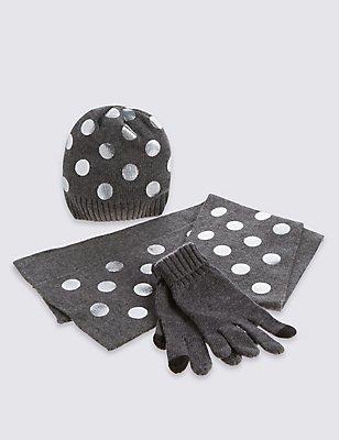 Kids' Hat, Scarf & Gloves Set with Wool, GREY MIX, catlanding