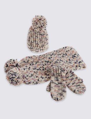 Вязаный комплект с рябым рисунком для девочки 3-14 лет: шапка, шарф и варежки T925213W