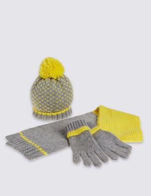 Комплект с яркой полосой для девочки: шапка с цветным помпоном, шарф и перчатки T925214W