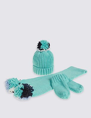 Kids' Hats, Scarf & Gloves Sets, TURQUOISE, catlanding