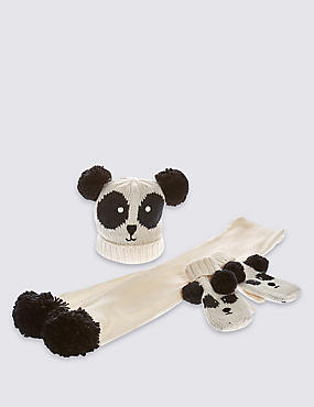 Ensemble bonnet, écharpe et gants enfants à motif panda, BLANC ASSORTI, catlanding